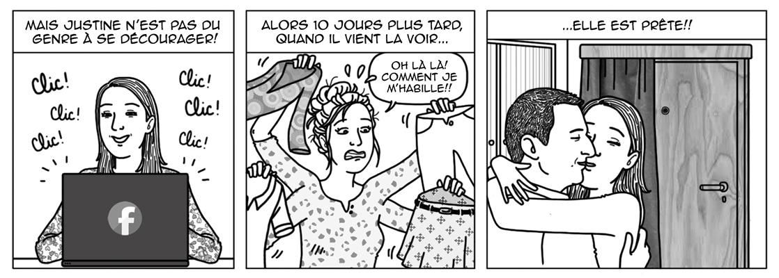extrait d'une BD personnalisée commandée à Audrey en noir et blanc
