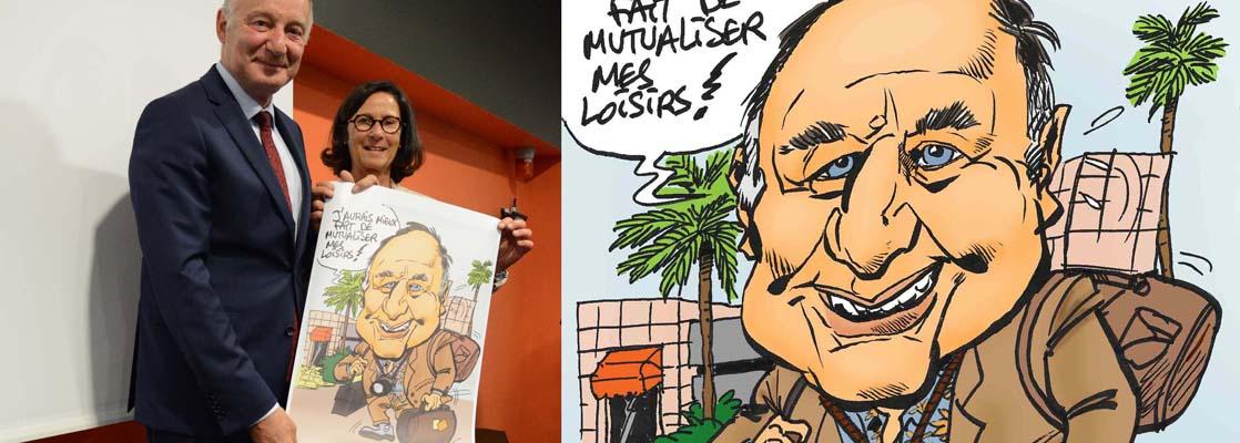 Poster cadeau caricature de Fris, offert par les salariés à leur directeur pour son départ en retraite