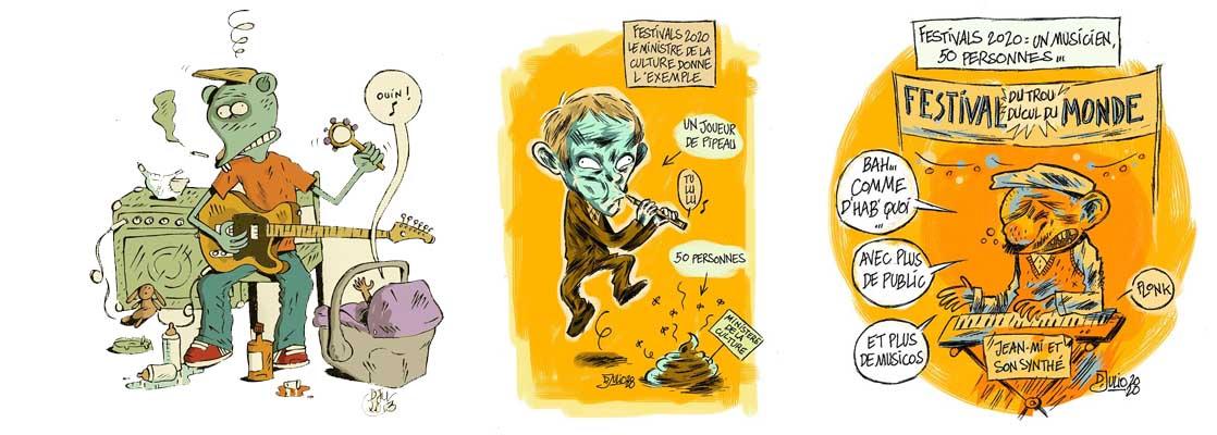 Strip et illustrations de Don Julio de la Vega pour de l'humour décapant